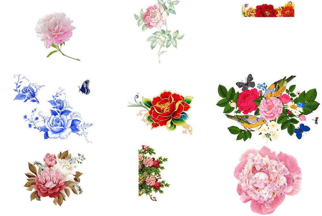 粉色手绘花牡丹花海报设计素材1