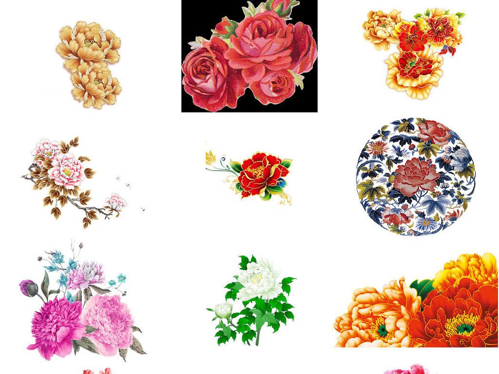 粉色手绘花牡丹花海报设计素材3