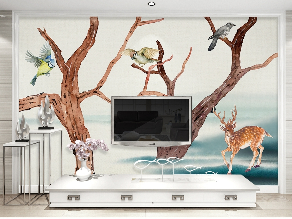 北欧梦幻森林麋鹿手绘背景墙装饰画