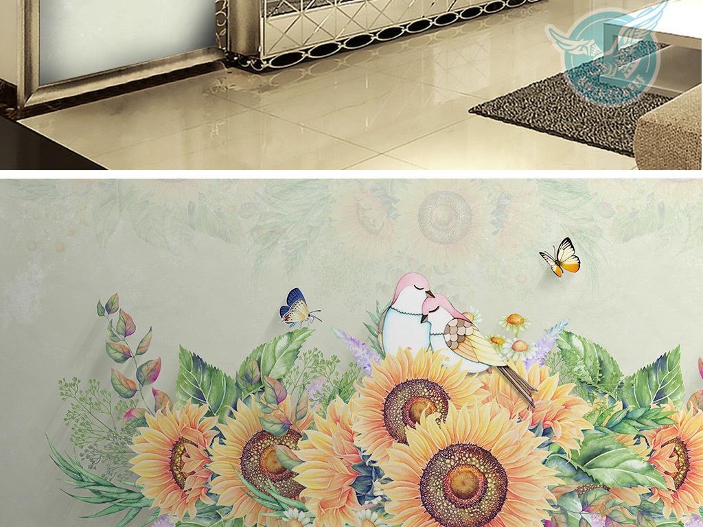 高清手绘向日葵爱情鸟背景墙壁画