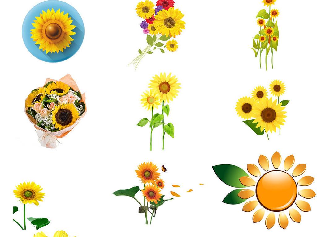 卡通向日葵元素手绘卡通向日葵花图片1
