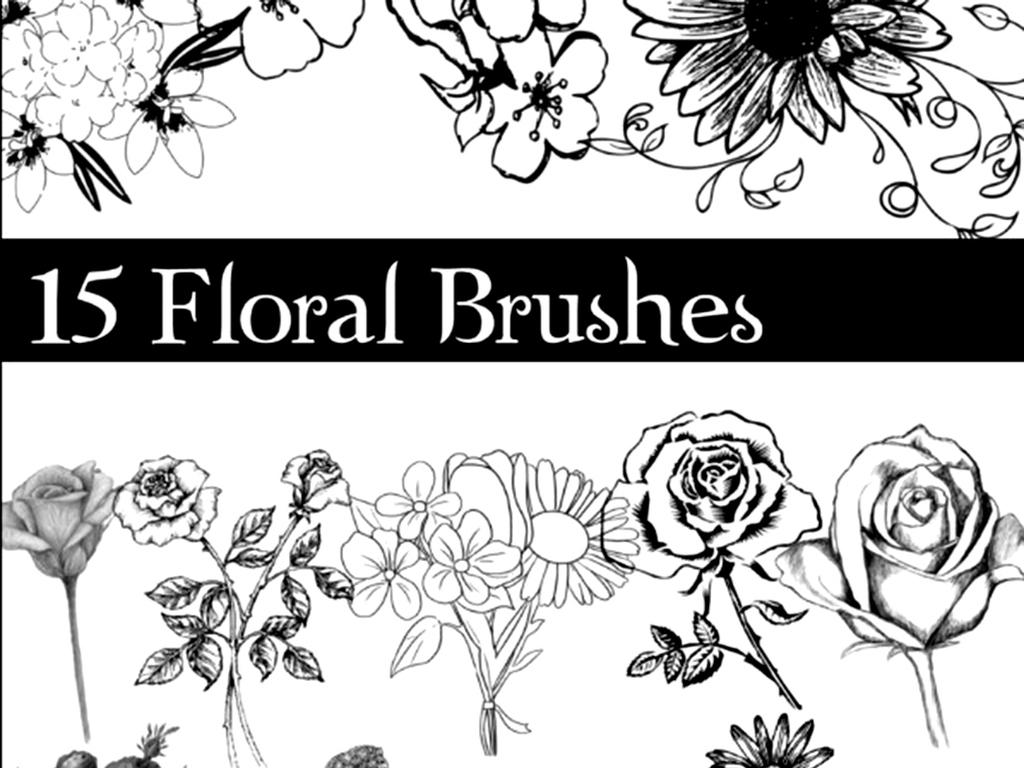 唯美的手绘花朵装饰ps笔刷