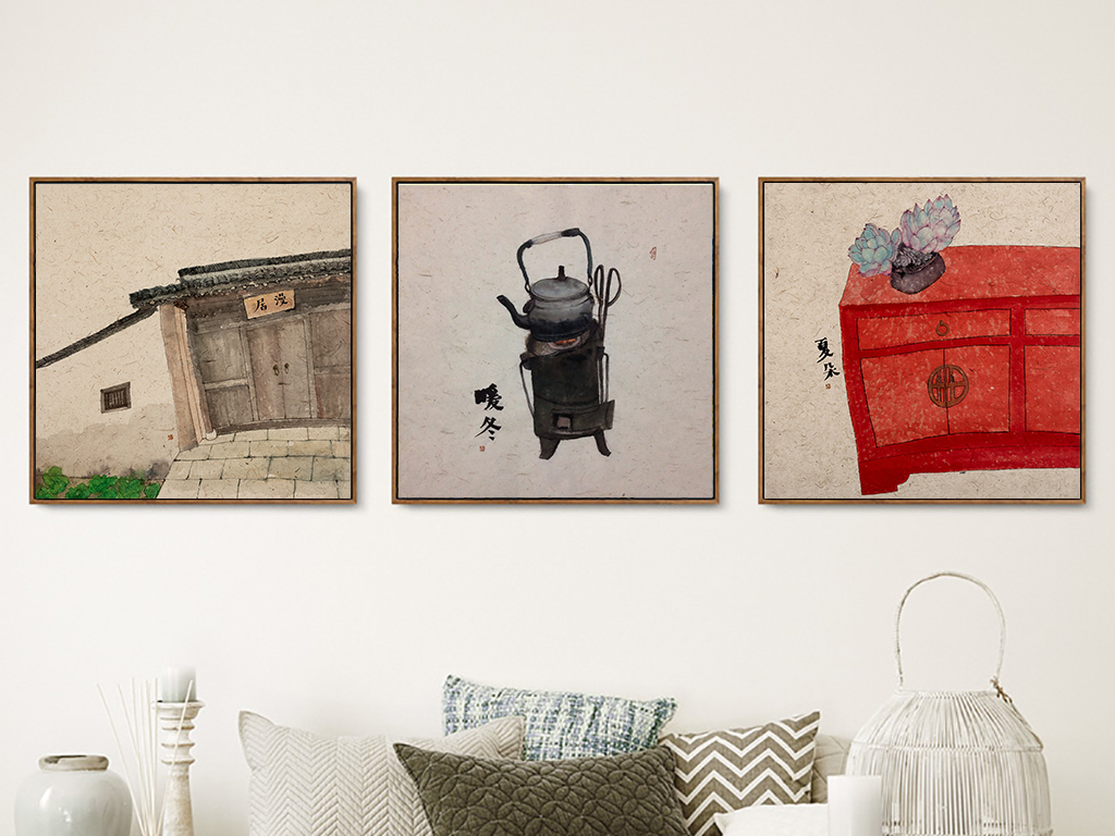 新中式古典抽象手绘意境书桌中国风装饰画