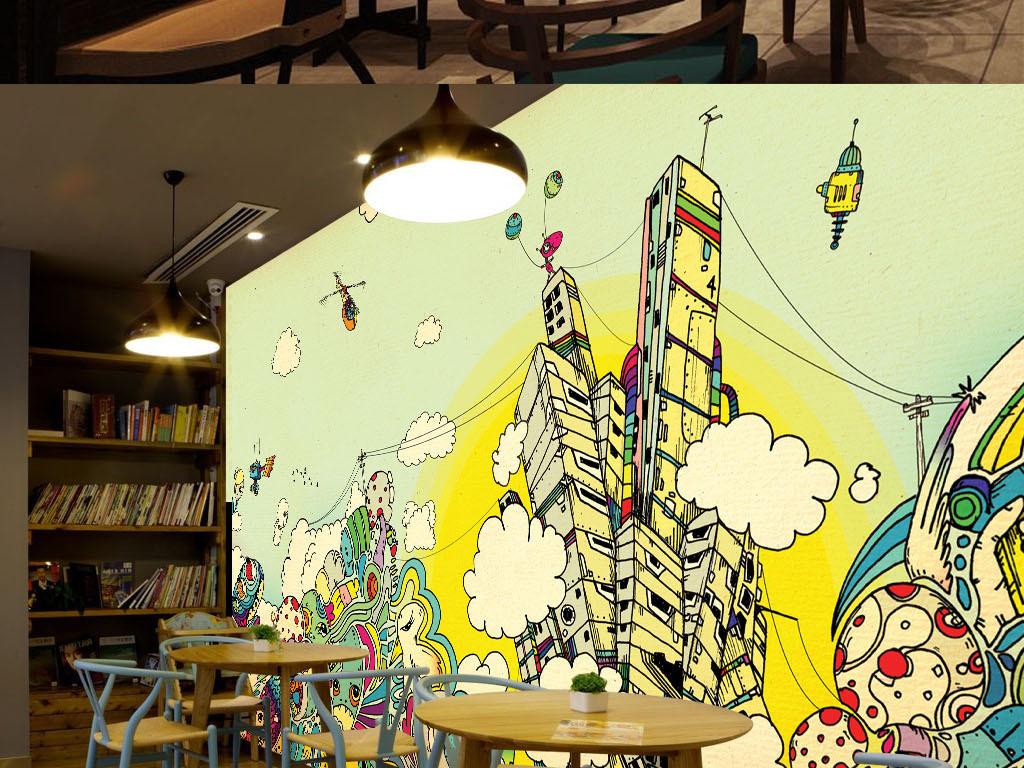 时尚手绘涂鸦酒吧ktv餐厅背景墙