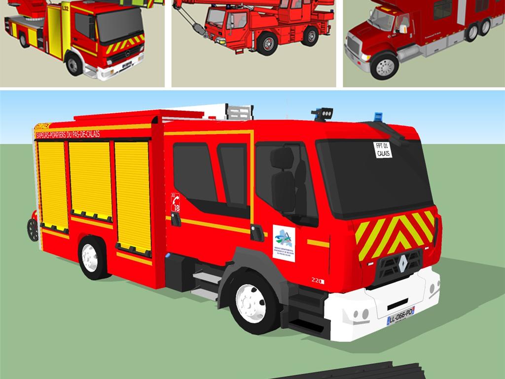 救火灭火消防车SU模型设计图下载 图片17.34MB 其他库 SU模型