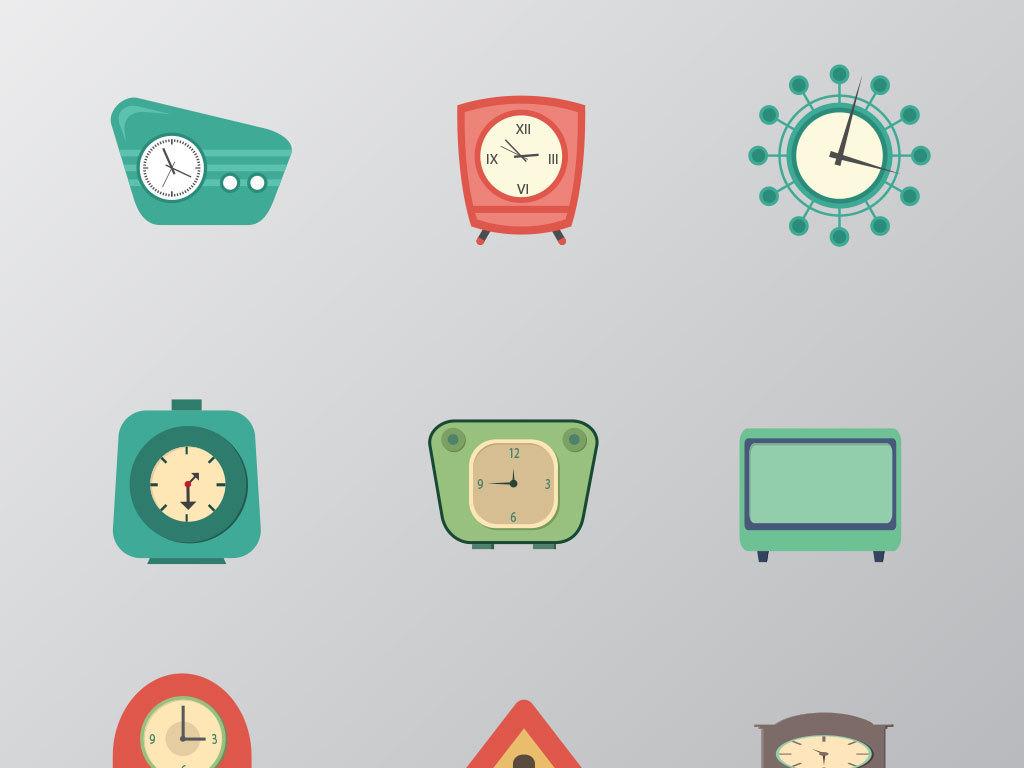 高清卡通手绘儿童闹钟时钟钟表矢量素材