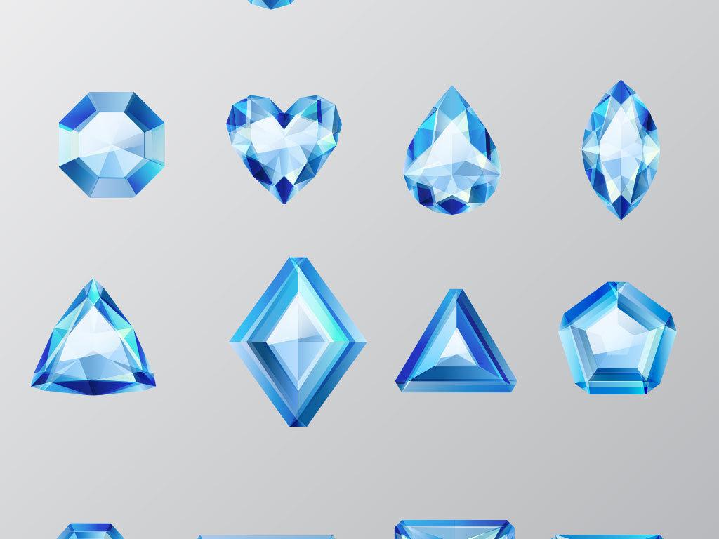 各种手绘漂亮宝石设计矢量素材