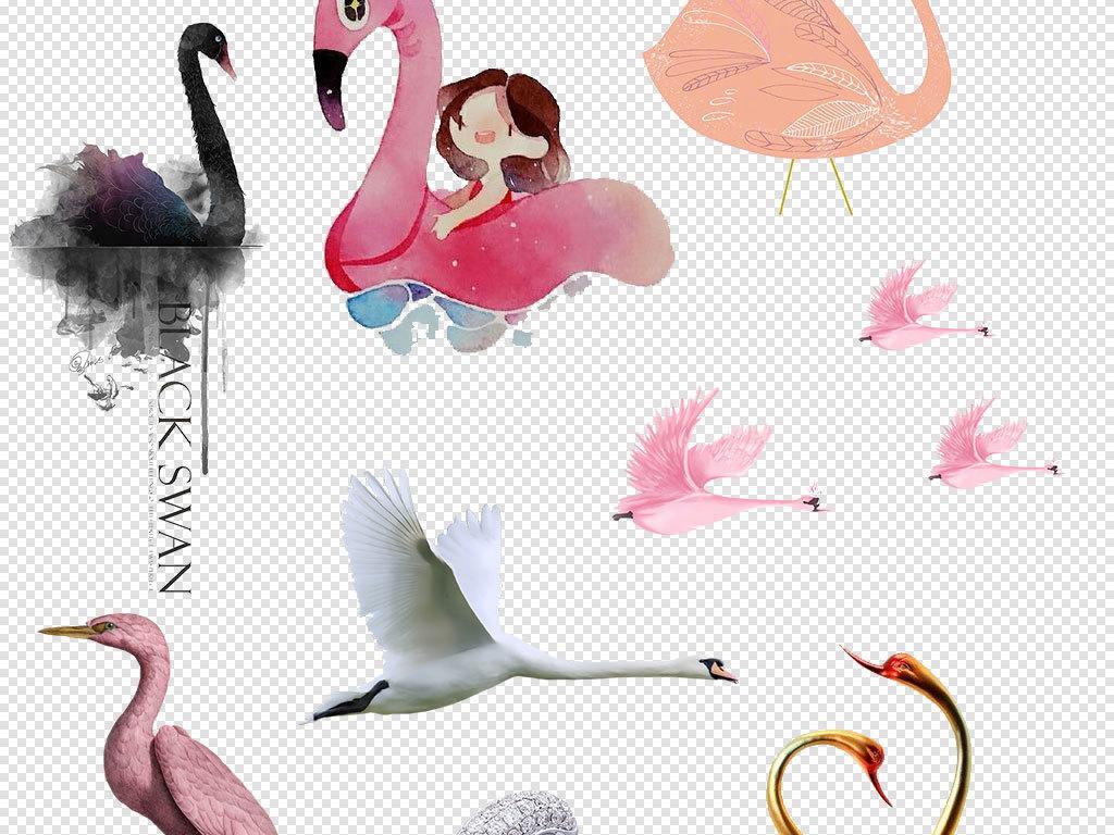 卡通天鹅动物设计PNG透明背景免扣素材图片