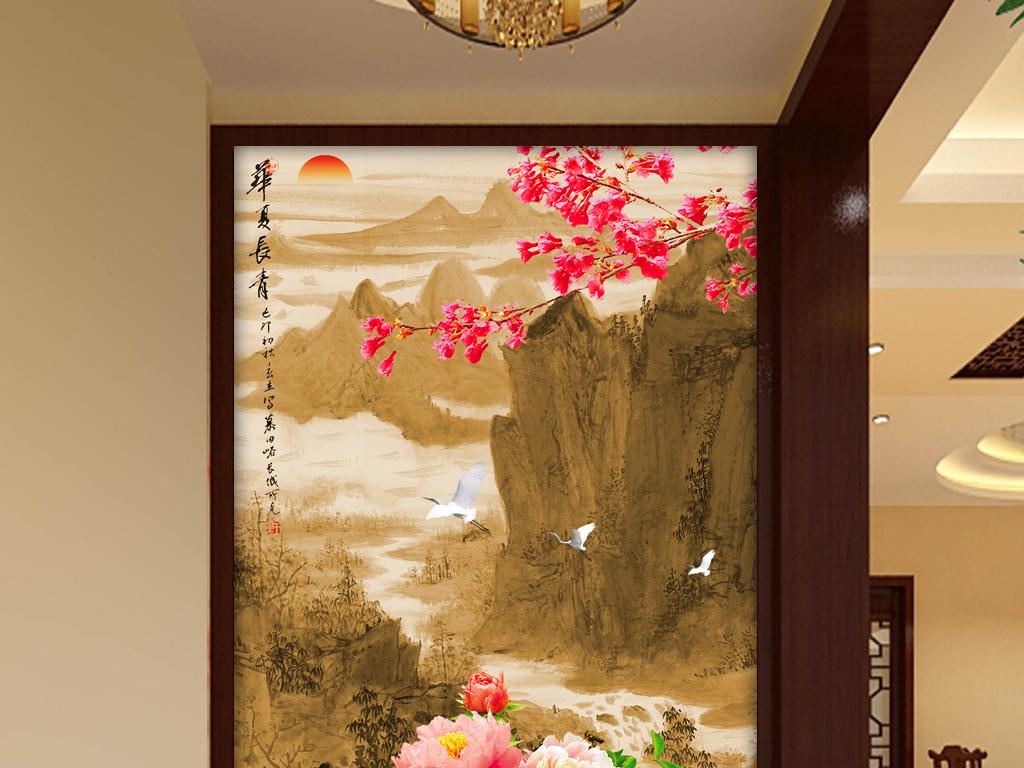 3d新中式彩雕山水梅花牡丹玄关背景墙