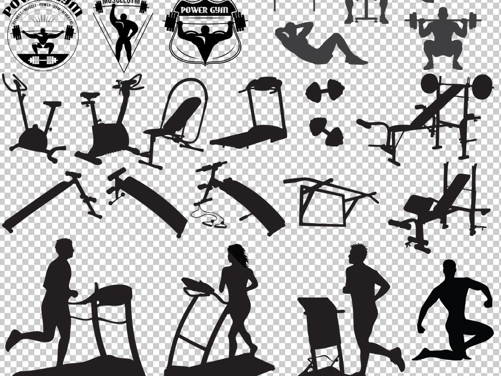 健身体育                                  体育运动人物剪影手绘