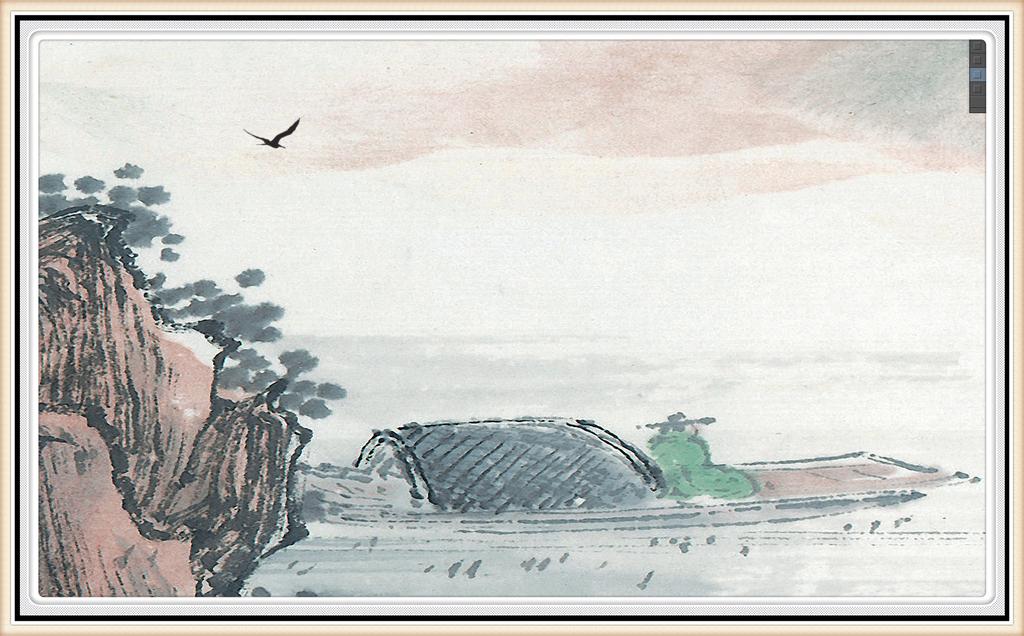 高清新中式山水画国画花鸟意境山水风景画水墨画工笔山水画图片