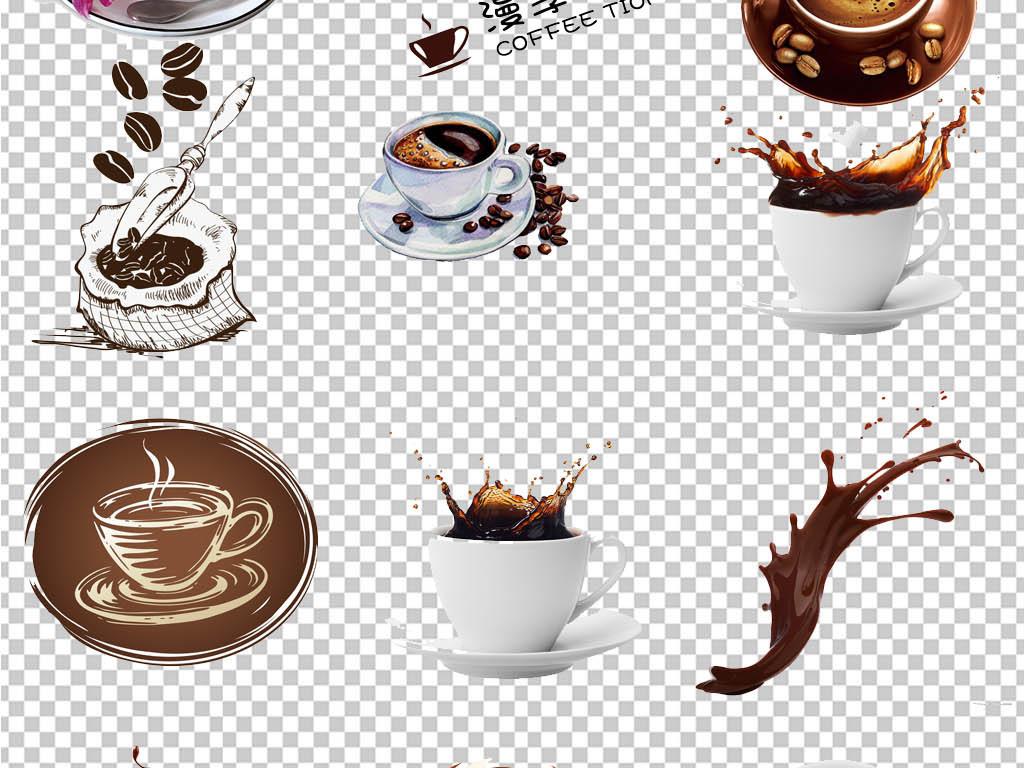 咖啡杯咖啡豆创意海报png素材图片下载psd素材