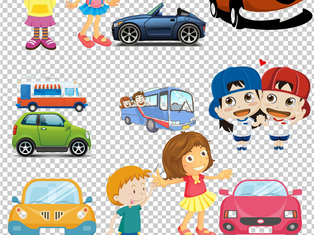 卡通手绘旅游旅行汽车培训png海报素材