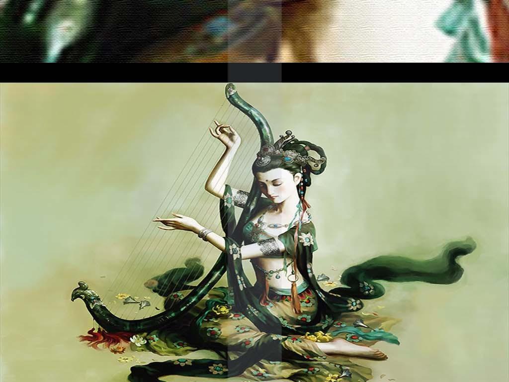 手绘敦煌飞天抚琴仕女性感美女古装人物油画
