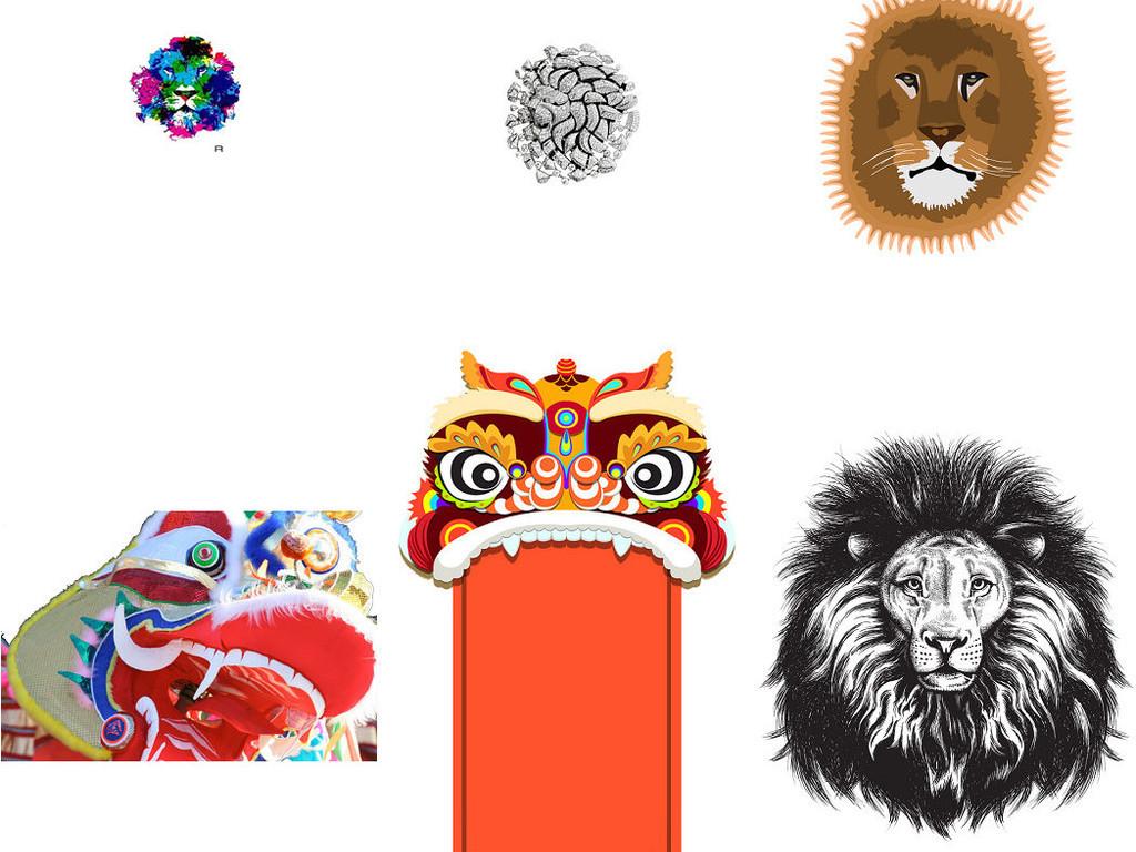 卡通狮子头形象设计素材png3