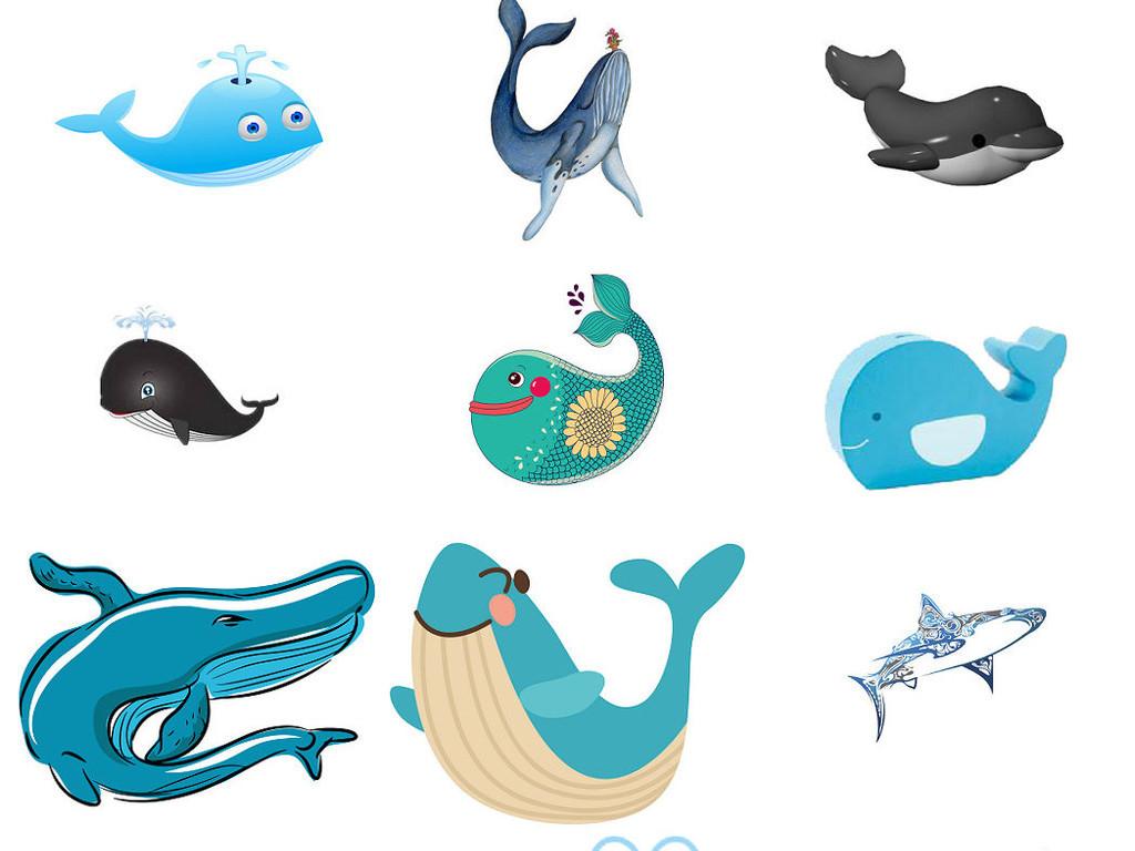 卡通手绘海底蓝色鲨鱼卡通鲨鱼免扣2