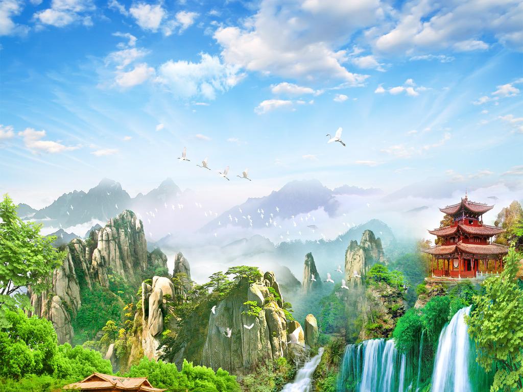 仙境_高清宽幅原创风景画山水瀑布仙境玄关背景墙