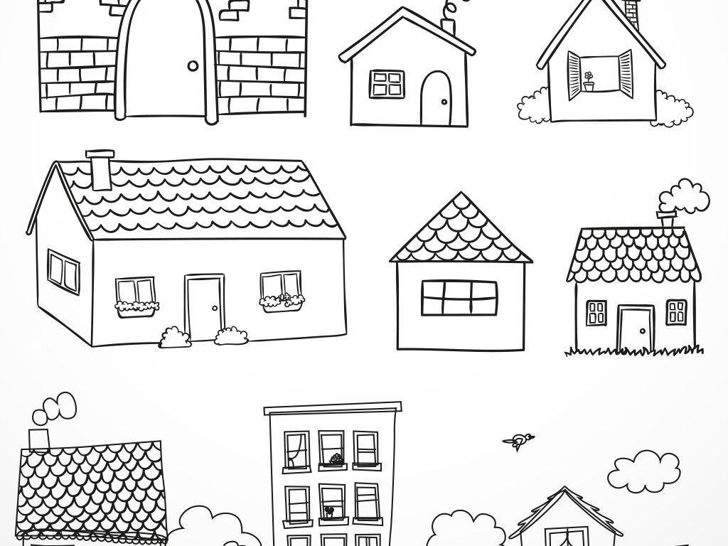设计元素 其他 装饰图案 > 手绘素描城市建筑都市房子速写矢量素材