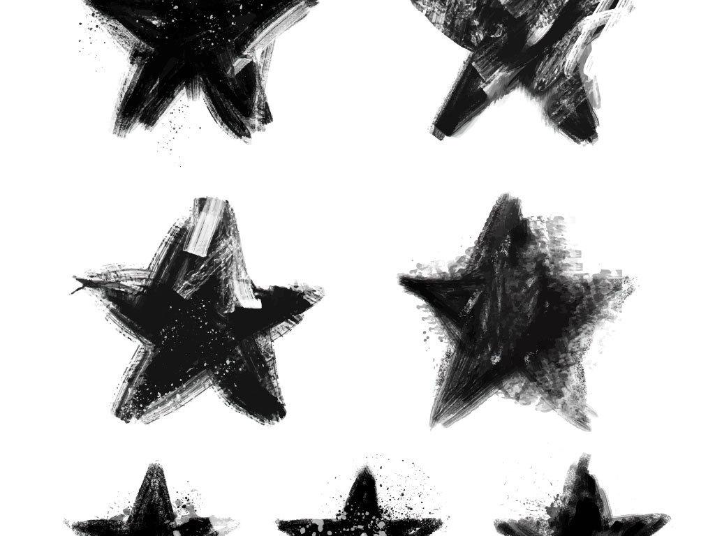 卡通水墨星星手绘立体五角星海报素材
