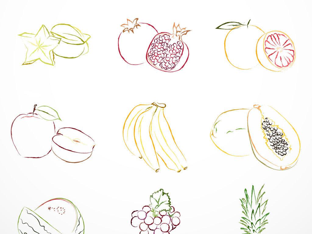 水彩手绘彩色清新夏日水果矢量素材