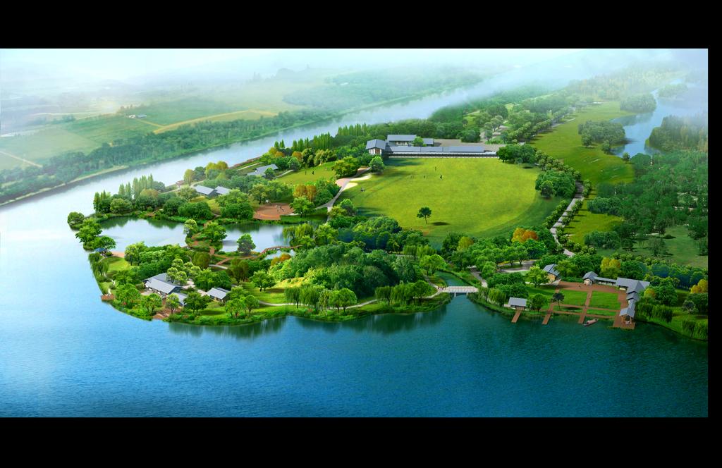 高尔夫球场,湖边,河边景观鸟瞰图效果图