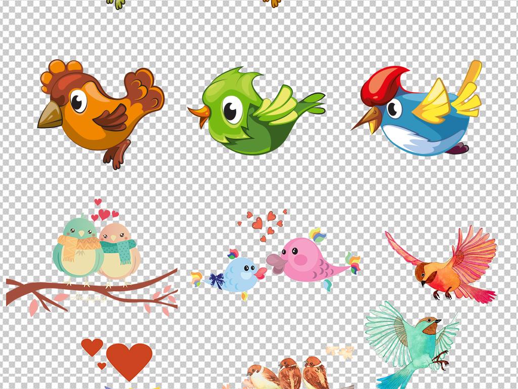 彩色鸟素材手绘鸟类飞翔小鸟卡通小鸟卡通元素水彩图片水彩手绘png