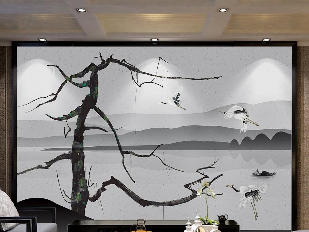 背景墙 电视背景墙 中式电视背景墙 > 新中式抽象树枝仙鹤风景手绘