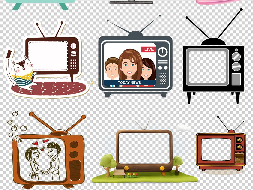 39款卡通电视机png透明背景免扣素材
