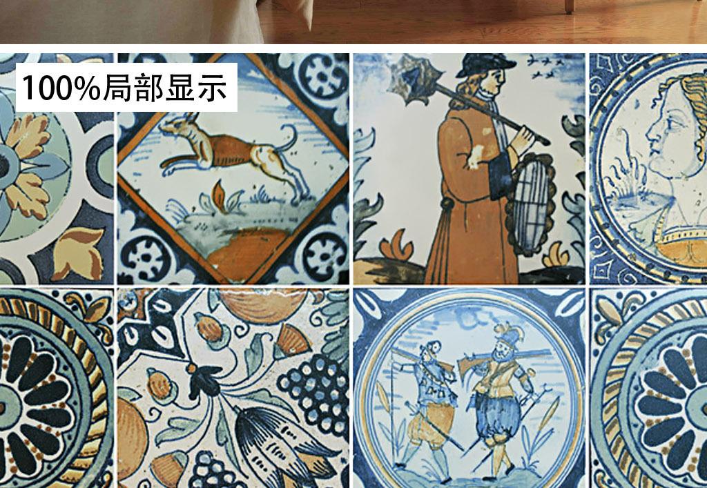 欧式美式手绘复古砖彩砖马赛克墙纸背景墙