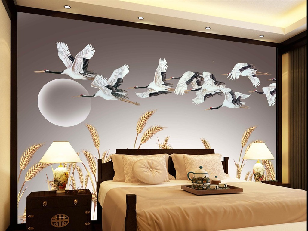 背景墙|装饰画 电视背景墙 中式电视背景墙 > 新中式高清分层麦穗白鹤