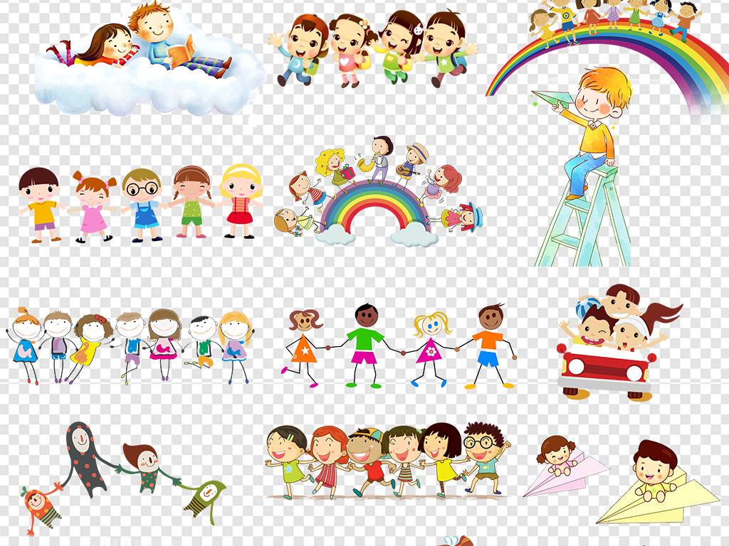 全国小孩手牵手卡通图片展示
