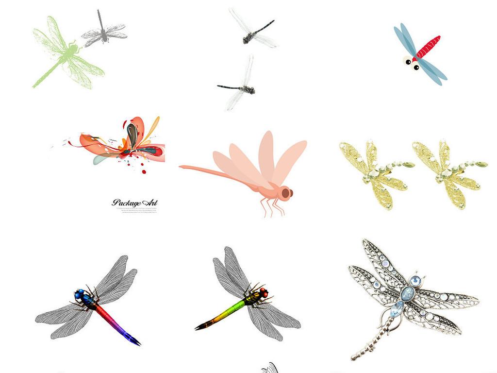 可爱的蜻蜓卡通动物画素材4