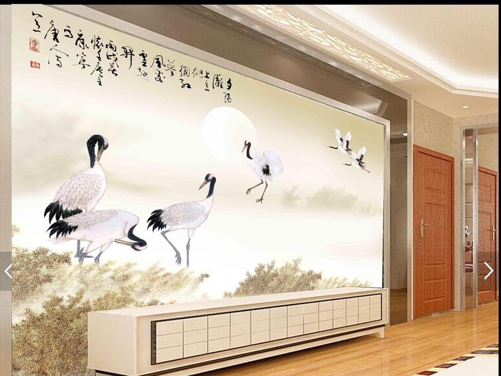 背景墙 装饰画 电视背景墙 中式电视背景墙 > 高清分层唯美芦苇白鹤