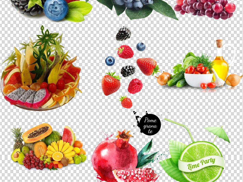 高清果蔬手绘水果篮蔬菜水果集合素材