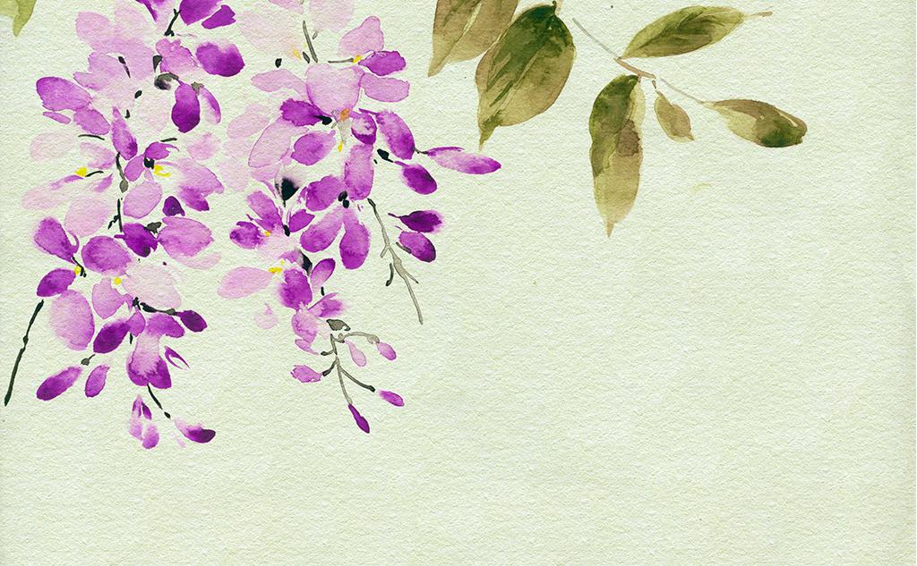 唯美时尚现代手绘水彩花卉紫罗兰四联装饰画