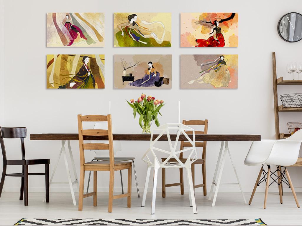 手绘朝鲜人物韩国料理店背景墙