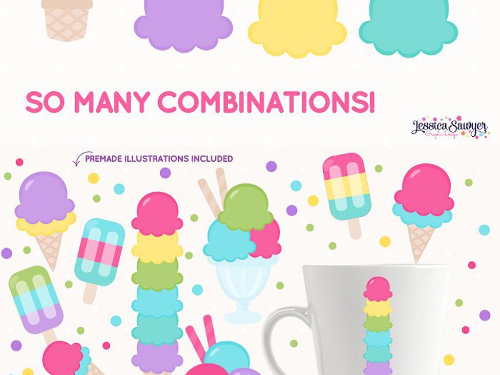 手绘卡通童趣缤纷色彩冰淇淋,横幅,卡通冰淇淋车等png