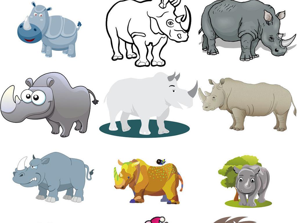卡通图片动物犀牛图案通犀牛免抠素材1