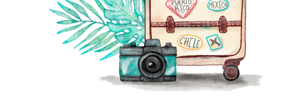 手绘彩绘卡通箱包旅行箱包矢量素材