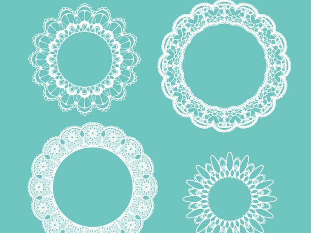 圆形欧式蕾丝花纹素材图片