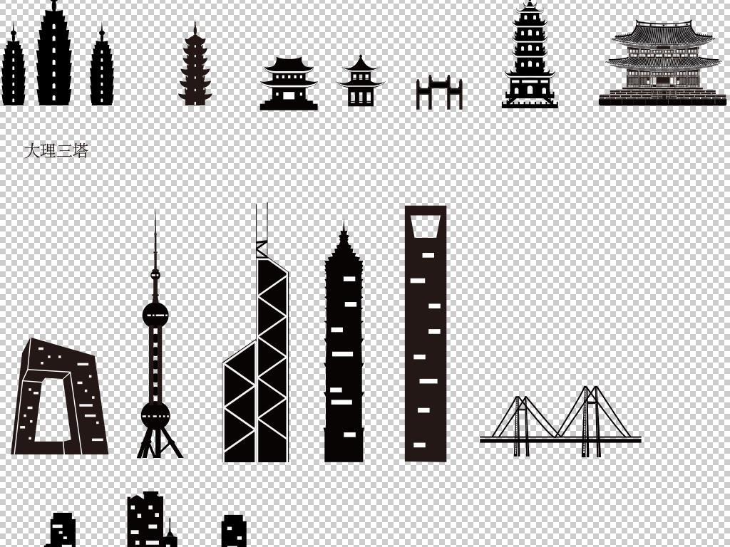 城市建筑剪影素材