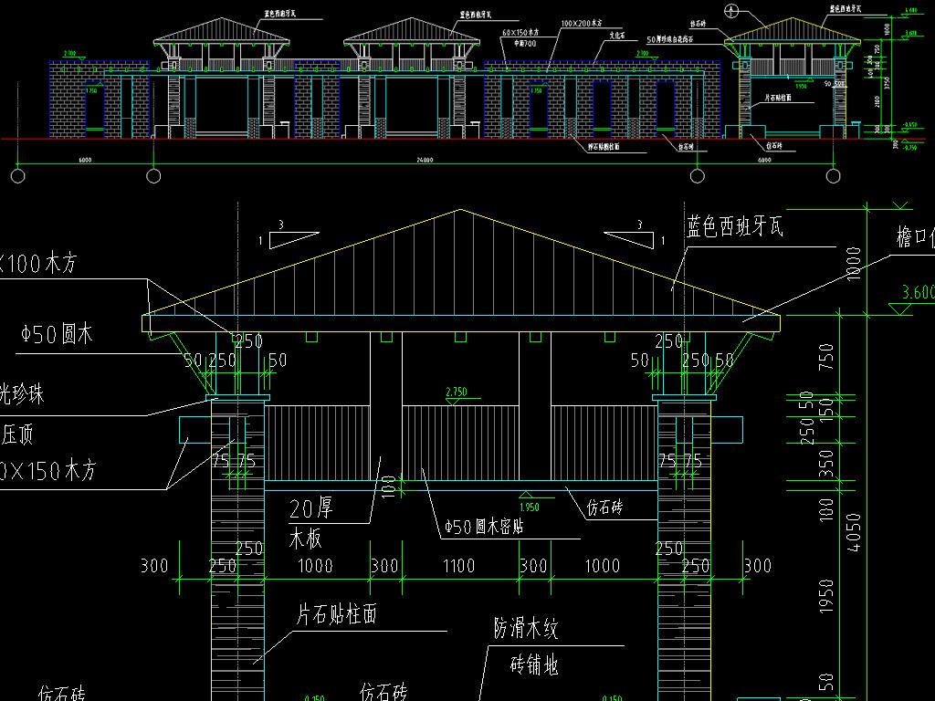 古建筑廊架cad设计图