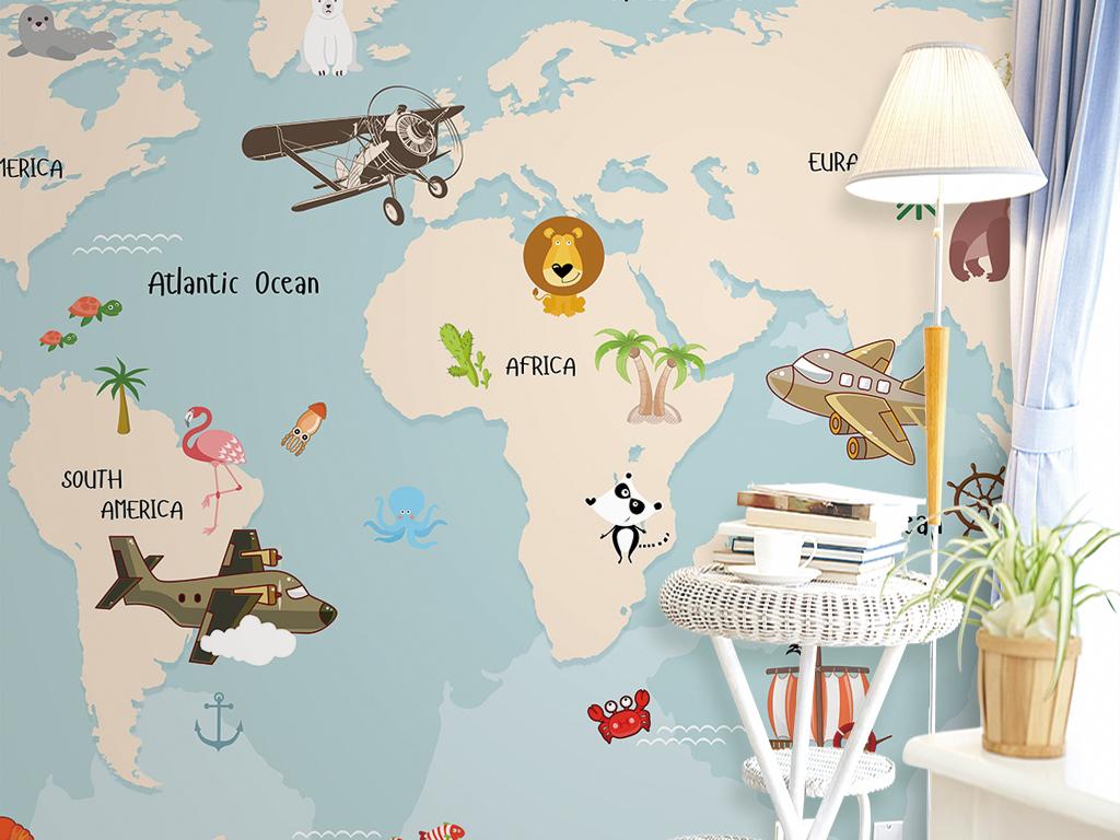 psd)                                  手绘壁画手绘地图世界地图