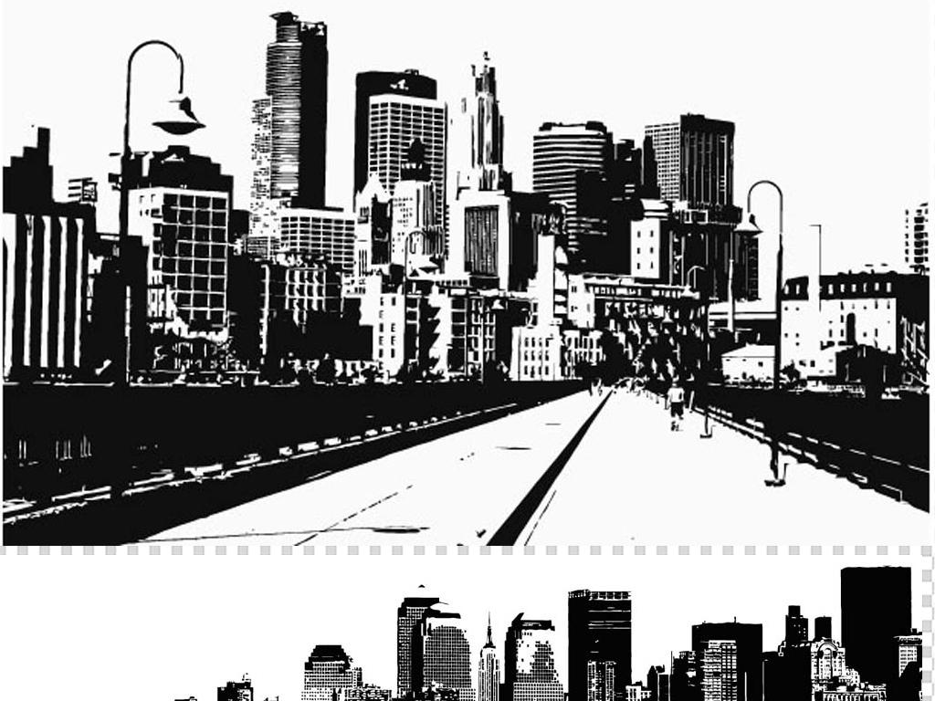 实用黑白城市剪影免抠素材城