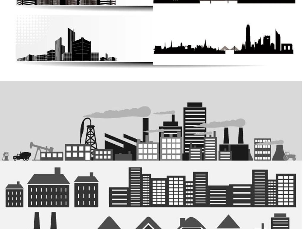 城市建筑房子剪影素材