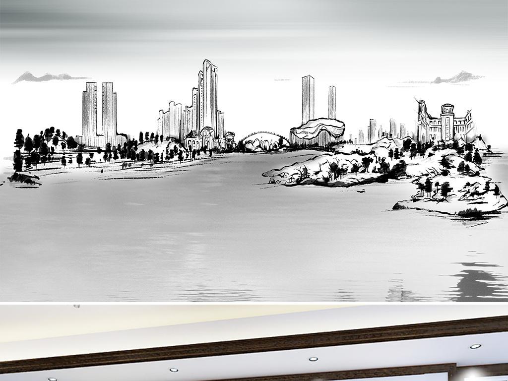 高清现代手绘水墨城市建筑山水背景墙