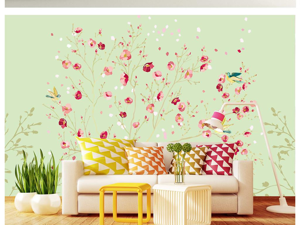 2017水彩手绘花鸟背景墙
