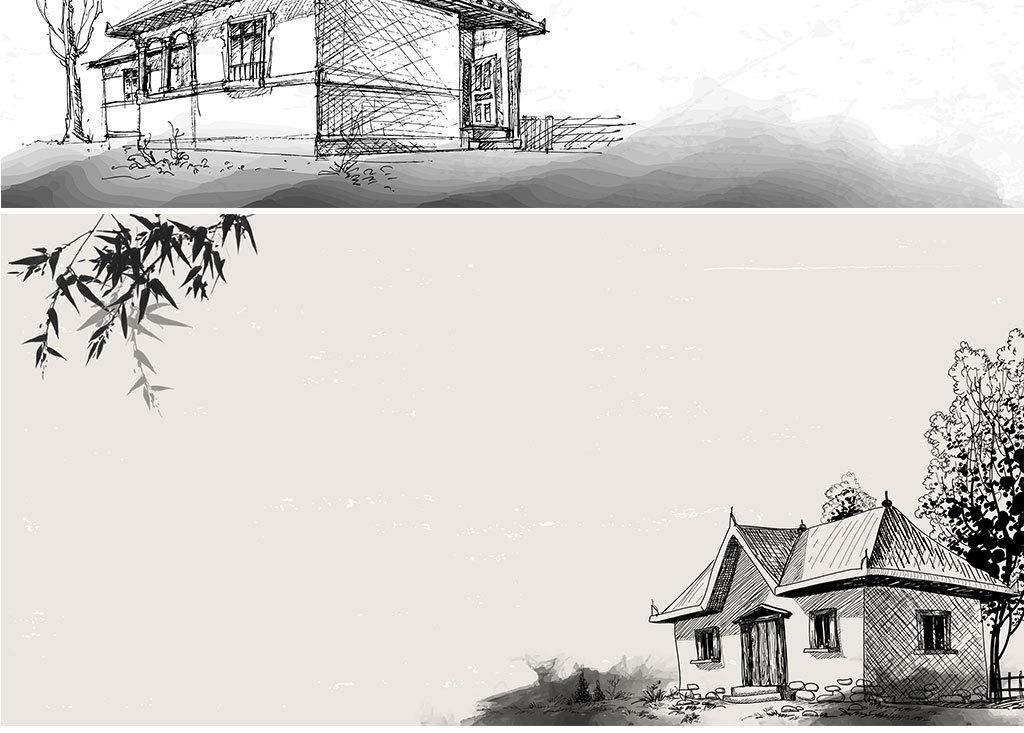 矢量水墨线描中国风建筑背景