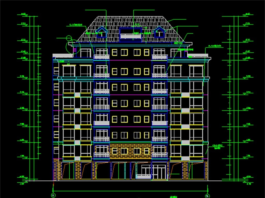 高层住宅建筑图纸楼房cad图纸住宅建筑cad设计图小区住宅建筑立面高层