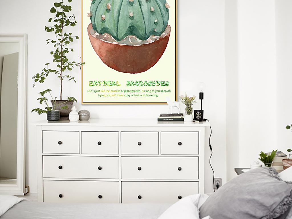 北欧手绘水彩仙人掌多肉植物盆栽装饰画4